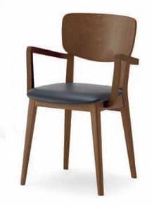 Gianna P, Stuhl mit Massivholzstruktur, mit Armlehnen