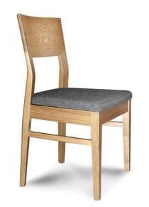 Giorgia S, Linear Holzstuhl mit gepolstertem Sitz, für Restaurants
