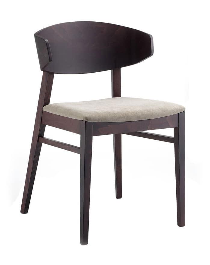Lorena, Stuhl mit Sitz in Stoff gepolstert