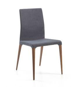 Marostica, Stuhl mit hoher Rückenlehne, gepolstert in Leder oder Kunstleder