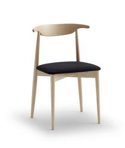 Holzstuhl mit sitz in leder bezogen idfdesign for Einfacher holzstuhl