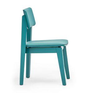 Offset 02813, Stuhl aus Massivholz, Sitz und Rücken gepolstert