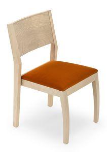 Omega stapelbar, Stapelbarer Stuhl aus Holz