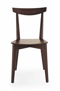 Barù, Linearer Stuhl komplett aus Buche, für Bars und Tavernen
