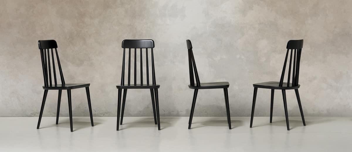 Stuhl Aus Buchenholz Mit Senkrechten Rückenlehnen
