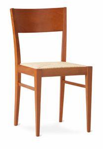 TEA, Rustic lineare Stuhl mit geflochtenem Stroh Sitz