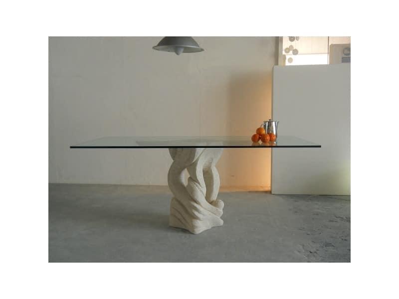 Australe, Rechteckigen Esstisch mit Platte aus Glas