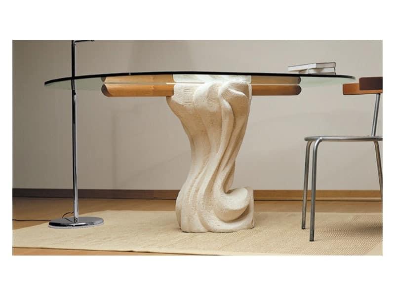 Essenza cherry wood, Oval Tisch mit Tischplatte aus Glas und Boden aus Stein
