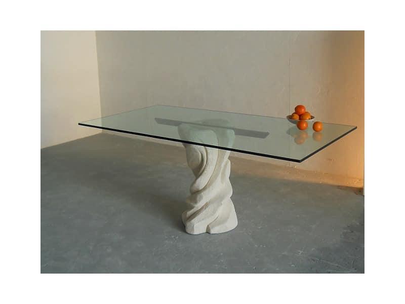 Mezzaluna, Rechteckigen Tisch mit Sockel aus Stein, oben in Glas