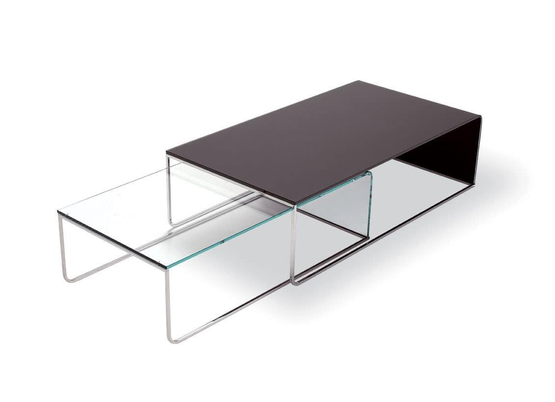 moderner couchtisch aus gebogenem glas und chromrohren f r lobby idfdesign. Black Bedroom Furniture Sets. Home Design Ideas