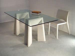 Riflesso table, Esstische mit Oberteil aus Glas und Beine aus Stein