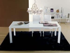 S55 leonardo, Ausziehbarer Tisch für Esszimmer, Glasplatte