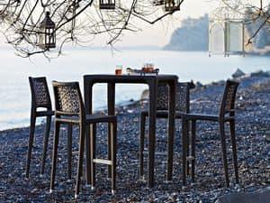 Altea Hocker, Gewebte Stuhl, Aluminium-Struktur, für Outdoor-Umgebungen