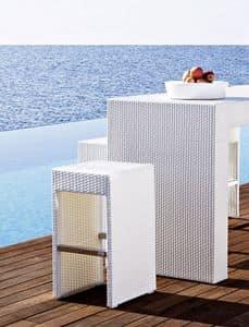 Cora Barhocker, Gewebte Stuhl, Aluminium framen, für den Außenbereich