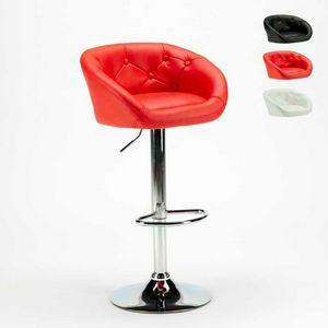 Hocker aus Kunstleder für Bar und Chesterfield-Küche TUCSON Design - SGA800TUC, Hocker in Kunstleder mit einstellbarer Höhe