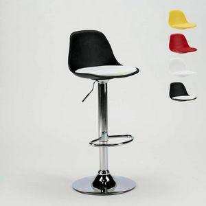 Hocker für Bar und Küche mit Kunstleder Halbinsel Design NEW ORLEANS - SGA800NEW, Drehhocker mit Rückenlehne