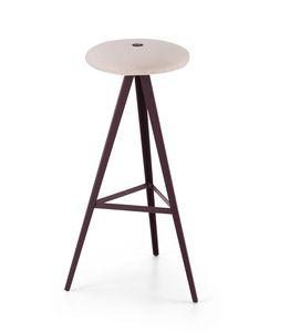 ART. 0122-H78-MET-IMB AKY, Hocker mit gepolstertem Sitz, Höhe 78 cm