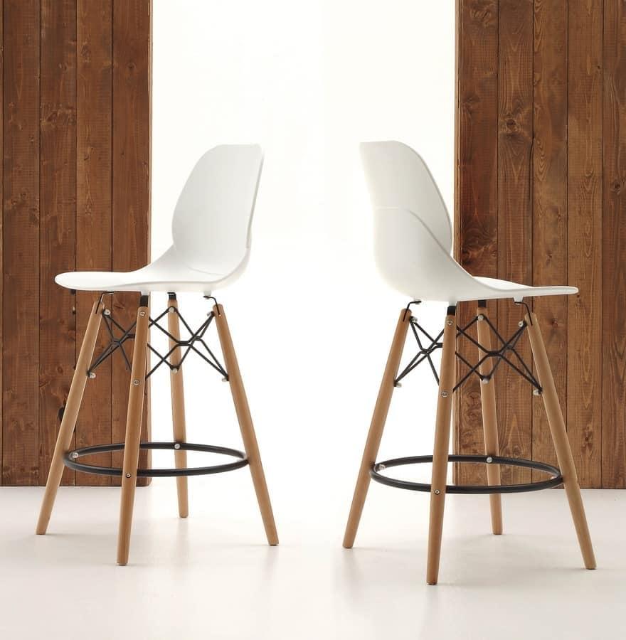 Küche Hocker, Holzbeine und Sitz in Polypropylen | IDFdesign