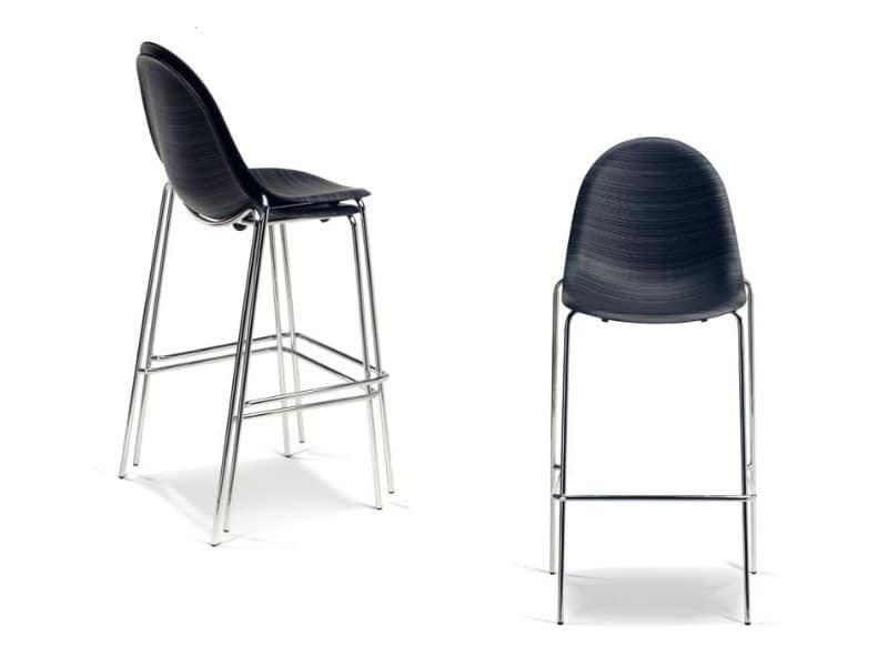 schlitten stuhl mit hoher design in der metall und sperrholz idfdesign. Black Bedroom Furniture Sets. Home Design Ideas