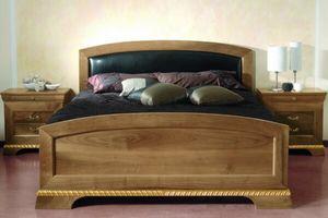 138, Bett aus Walnussholz mit Kopfteil aus schwarzem Leder