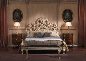 3660 BETT, Bett mit Barockstil, für luxuriöse Schlafzimmer, Holzkonstruktion mit beschichteten Blattgold-Finish