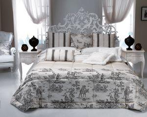 Art. 9095.170, Klassisches Bett, weißes Holz, mit Schnitzereien