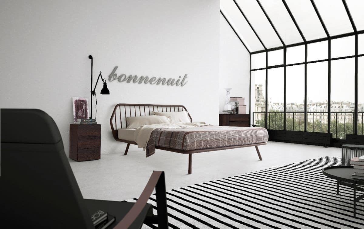 Doppelbett, minimalistisches Design, mit Holzrahmen | IDFdesign
