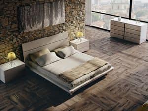 Bett Design 12, Doppelbett aus Holz, mit eleganten Oberflächen