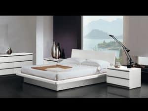 Bett Design 17, Doppelbett, Holzrahmen, moderner Stil