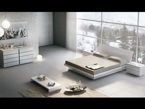 Bett Design 18, Doppelbett aus Holz, mit Aufbewahrungsbox