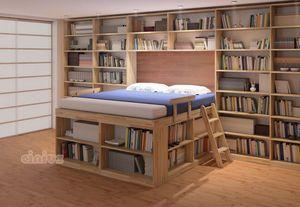 Biblioteca, Platzsparendes Bett mit Regalen