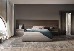 Boiserie comp.02, Kopfteil für Bett in matt Holz, für Hotels