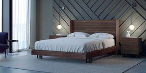 Ironwood Belt Bett, Bett mit hohem Kopfteil und Gestell aus Eukalyptusholz