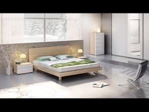 Bett Design 01, Bett mit Kopfteil und Bettrahmen Holz, modernen Stil.
