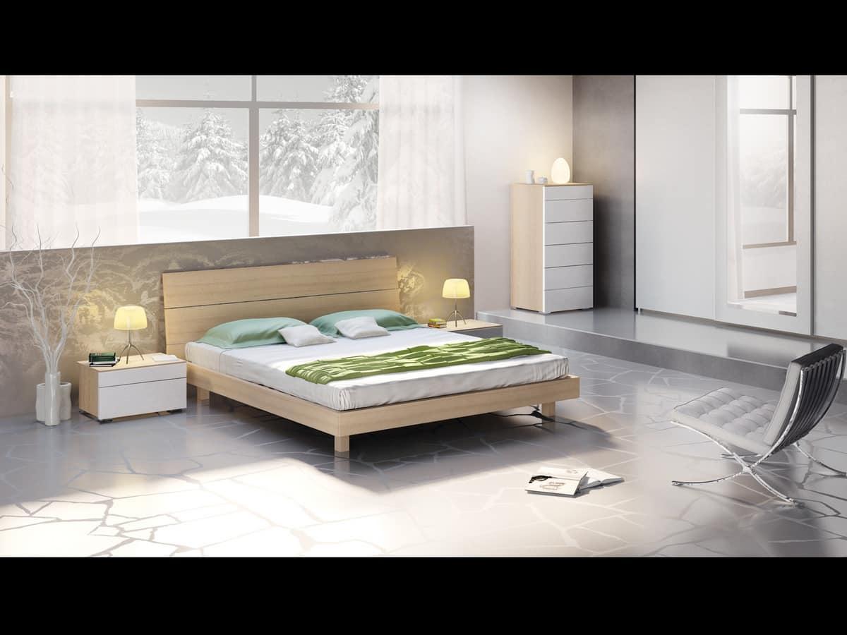 Bett mit Kopfteil und Bettrahmen Holz, modernen Stil. | IDFdesign
