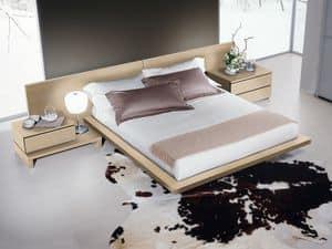 Bett Design 03, Bett mit Kopfteil und Bettrahmen aus Holz