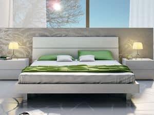 Bett Design 09, Doppelbett aus Holz, in einem linearen Stil