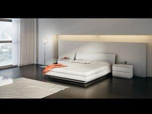 Bett Design 15, Doppelbett mit Holzboden, in einfachen Stil