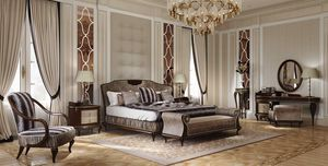 New York Bett, Bett in Holz, mit gepolstertem Kopfteil