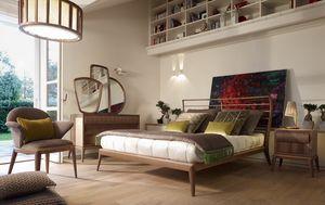 Ribot Bett, Bett mit Kopfteil mit horizontalen Lamellen verziert