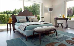 Santiago Bett, Bett mit geformtem Kopfteil aus Holz