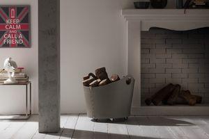 Cadin, Holzkörbe in Leder, mit Multi-Layer-Basis, für Kamine