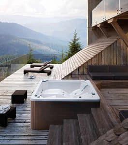 MYSPA 195_E, Mini Swimmingpool mit Jacuzzi und Wasserfall, Farbtherapie