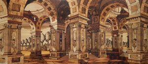 Intarsien mit architektonischer Aussicht in Perpsektiv, Inlay geschickt durch passende edle Holz Essenzen erstellt