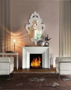 Art. VL411, Eleganter Kamin aus weißem Holz