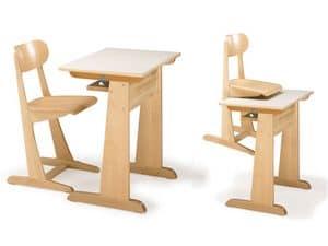 AULA, Stuhl und Schreibtisch, aus Buchenholz, für Kindergarten und Schule