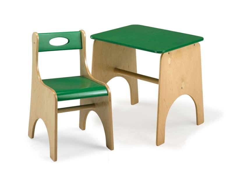 LEILA E LEILA/T, Stuhl und Tisch für Kinder, aus Sperrholz, für Schule und Spielplätze