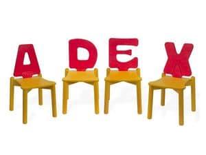 LETTERANDIA, Stühle für Kinder, shped Rückenlehne wie ein Buchstabe des Alphabets, für Spielplätze und Kindergärten