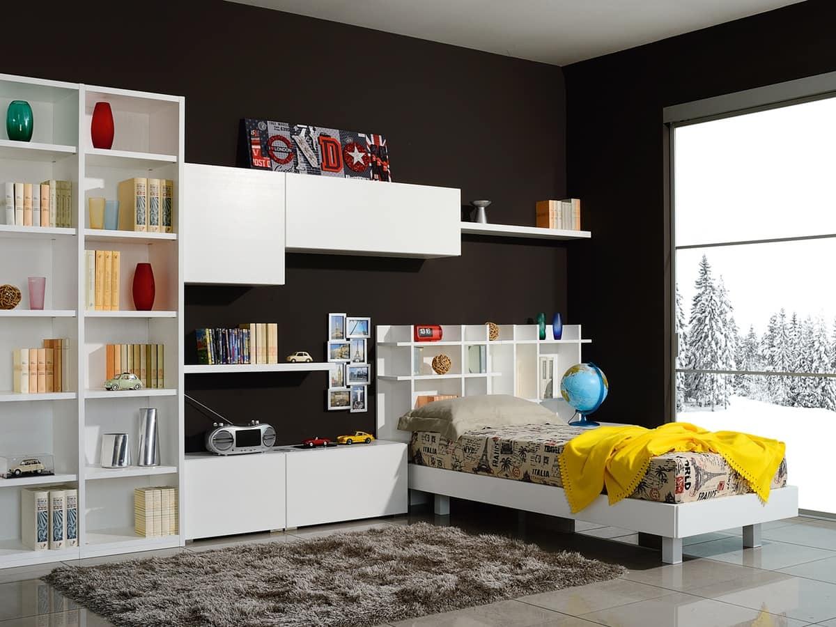 Modular Platz Für Kinder Mit Einem Bett Und Wandschränke