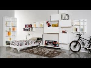 Climb Ragazzi 17, Modulare Schlafzimmer für Kinder, ideal für Raum optimiert
